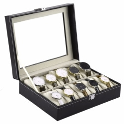 Watchbox Klockbox för 10 klockor med fönster svart med vit söm Svart