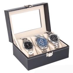 Watchbox Klockbox för 3 st klockor svart med vit söm och fönster