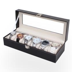 Watchbox Klockbox för 6 klockor - Svart med vit söm