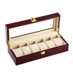 Watchbox Klockbox i trä för 6 klockor med fönster - Rosenträ