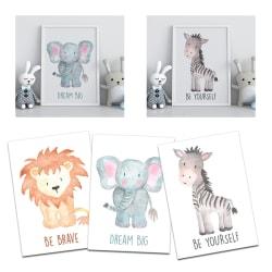 3st Poster Print Djur Zebra Lejon Elefant A4