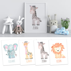 4st Poster Print A4 Afrikanska djur Zebra Lejon Elefant Giraff