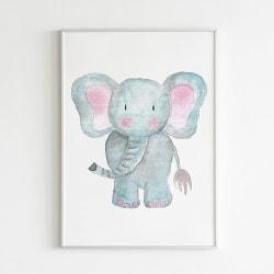 Poster Print Djur Elefant motiv Barnrum a4