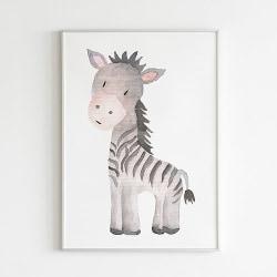 Poster Print Djur Zebra motiv Barnrum a4