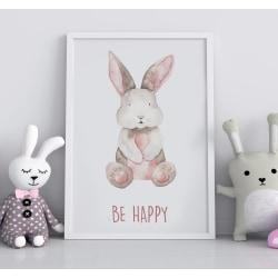 Poster Print till tavla i barnrum Kanin Be Happy