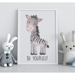 Poster Print till tavla i barnrum Zebra - Be yourself