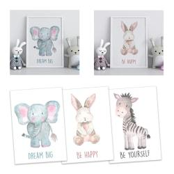 Poster Print till Tavla i barnrummet Djur Elefant Zebra Kanin A4