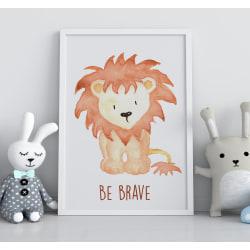 Poster Print till Tavla i barnrummet Lejon Be brave