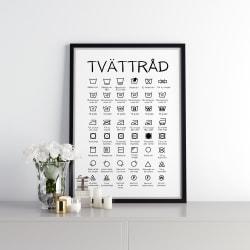 Poster Print till Tavla  Tvättstuga Tvättråd  Black white A4