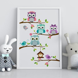 Poster Print  Ugglor i träd barnrum a4