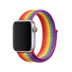 För Apple Watch 42/44mm Nylon Loop med kardborreknäppning Pride