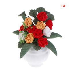 1:12 Dollhouse Miniature Flowers Garden Potted Plant Flowers Po 1#