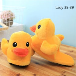 1 Pair Yellow Duck Soft Plush Cotton Slippers Household Shoes C Lady 35-39