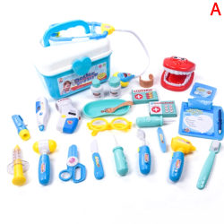 15Pcs Kids Simulation Medicine Box Doctor Toys Sets Funny Preten Blue blue