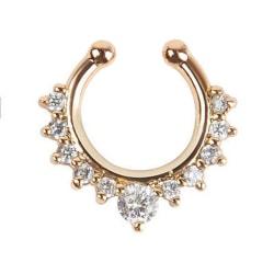 1Pc Fashion Fake Septum Clicker Nose Ring Non Piercing Hanger C Silver