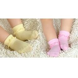3 par bomull baby pojke flicka söta solida småbarn strumpor spädbarn och