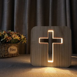 3D LED Lamp Night Light USB Desk Table Lamps Christianity Cruci
