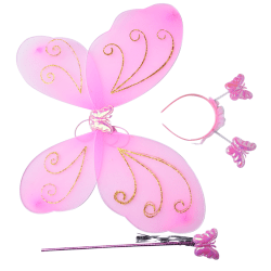 3Pc Set Girls Fairy Costume Butterfly Party Wings Wand Princess Pink