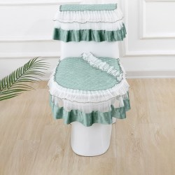 3Pcs/set Toilet Seat Cover Water Tank Cover Zipper Lace Lid Pads Green