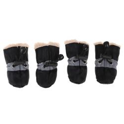 4PCs Dog Socks Winter Dog Boots Footwear Rain Wear Non-Slip Anti Black 2