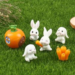 6Pcs Easter Rabbit Carrot Miniature Garden Decor Mini Bunny Eas