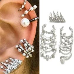 9PCS/Set Ear Clip Earrings Bohemia Ear Cuff Stud Crystal Ear Ea