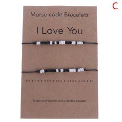 Justerbart Morse Code-armband Kvinnor Män Handgjorda Flätade Svart C:I Love You