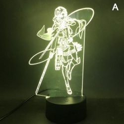 Anime Figure Attack on Titan Levi Ackerman LED Night Light Acry A-Black base