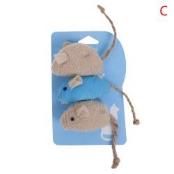 Kattleksak imitation Plyschmus 3-pack innehållande kattmynta till amu 3(Beige + Blue Mix)