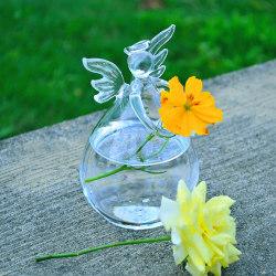 Klar ängelform Hängande vasflaska Blomplanterkruka 7.5*12cm