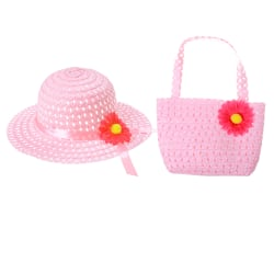 Cute Girls Kids Beach Summer Sun Hats Bags Flower Straw Hat Cap Pink 9