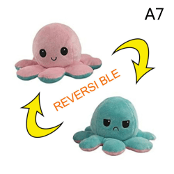 Cute Simulation Reversible Octopus Doll Double-sided Flip Plush A7:Pink+Light Blue