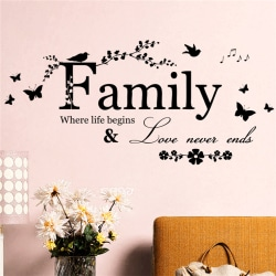Family Letter Quote Removable Vinyl Decal Art Mural Home Decor  Black 60x19cm