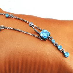 Mode kirurgiskt stål navel piercing Blue