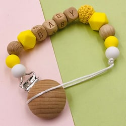 Handmade Silicone Wood Pacifier Clips Safe Teething Chain Baby T Yellow