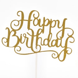 "Happy Birthday"" Letter Cake Topper Party Supplies Decorations To Gold"