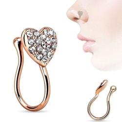 hjärta med ädelstenar klämma fast på näsringen falska piercing septum gråter Rose Gold
