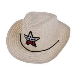 Kids boys girls cowboy summer breathable hat straw sun hat chil Beige