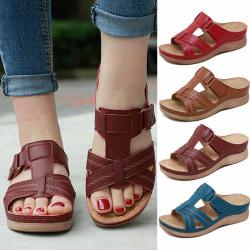 Kvinnor ortopedisk häl Slip On Sandaler med öppen tå sandaler Sho Brown 38