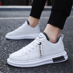 Leather Sneakers Casual Shoes Men Sneakers Flat Comfort Sneaker Black 44