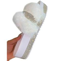 Luxury Designer Women Fur Rhinestone Slippers Platform Wedges H White 41