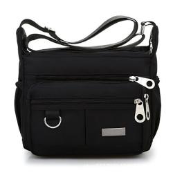 Multi Pocket Shoulder Bag Corss-body Purse Vattentät Nylon Tra Black