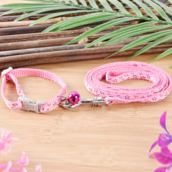 Nylon Small Dog Puppy Collar and Leads Leash with Bell for Chih Pink 0.8cm