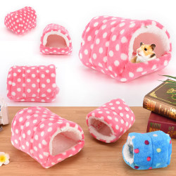 small animal bed cave warm cute nest for hamster guinea pig squ Blue 14cmx14cm