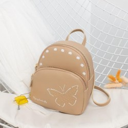 Student Mini Backpack Pu Leather Bags Casual Backpacks Butterfly Khaki