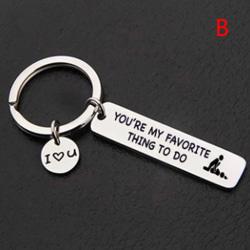 Tack för alla Orgasmer Jag älskar dig Nyckelring Par Nyckelring J B