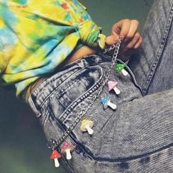 Vintage färgglada svamp Hip Pop byxor kedja nyckelring Punk Wa