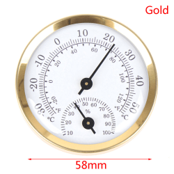Wall Mounted Temperature Humidity Meter Thermometer Hygrometer  Gold
