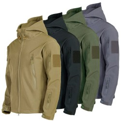 Waterproof Winter Mens Outdoor Jacket Tactical Coat Soft Shell  Gray M