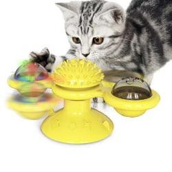 Väderkvarn Kattleksak Skivspel Teasing Husdjur Leksak Kittlande katter Hår Bru Yellow
